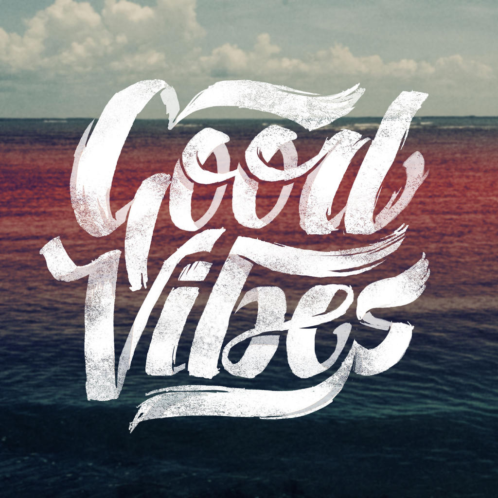 good vibes lettering t shirt graphic design by sebiondeviant