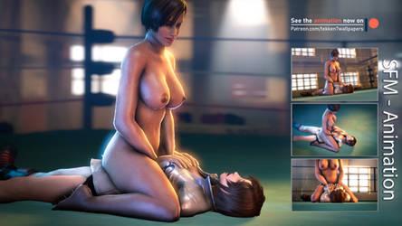 Lisa vs Asuka - Pinned down [Nude-Animation] by Tekken7Wallpapers