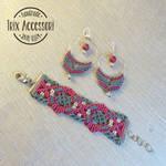 parure set macrame earrings and bracelet
