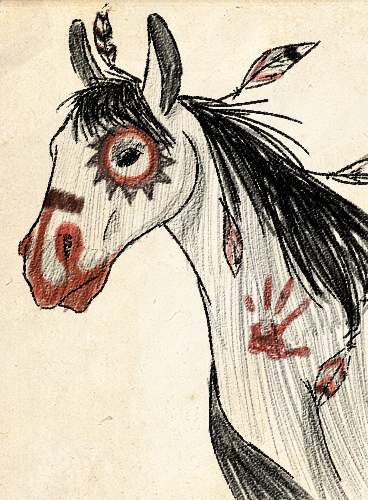 Native American Horse Drawing Native american war horse by
