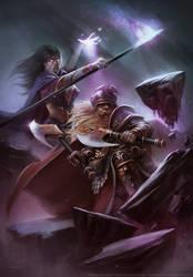 Dwarf and Vamp queen - DA by HELMUTTT