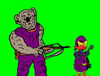 Kev Talk1 - Kevlar Koala (tm) and Porphyrio (tm) by SevenSidedCube7
