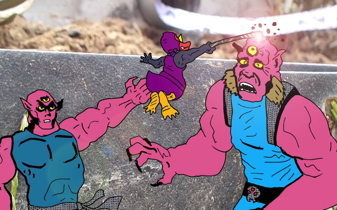 Porphyrio the Blue Chicken clobbers Triclops by SevenSidedCube7