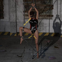Lara Croft tied up with chains in sports swimsuit by Akahando