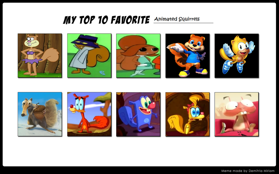 My Top 10 Animated Squirrels by Prentis-65