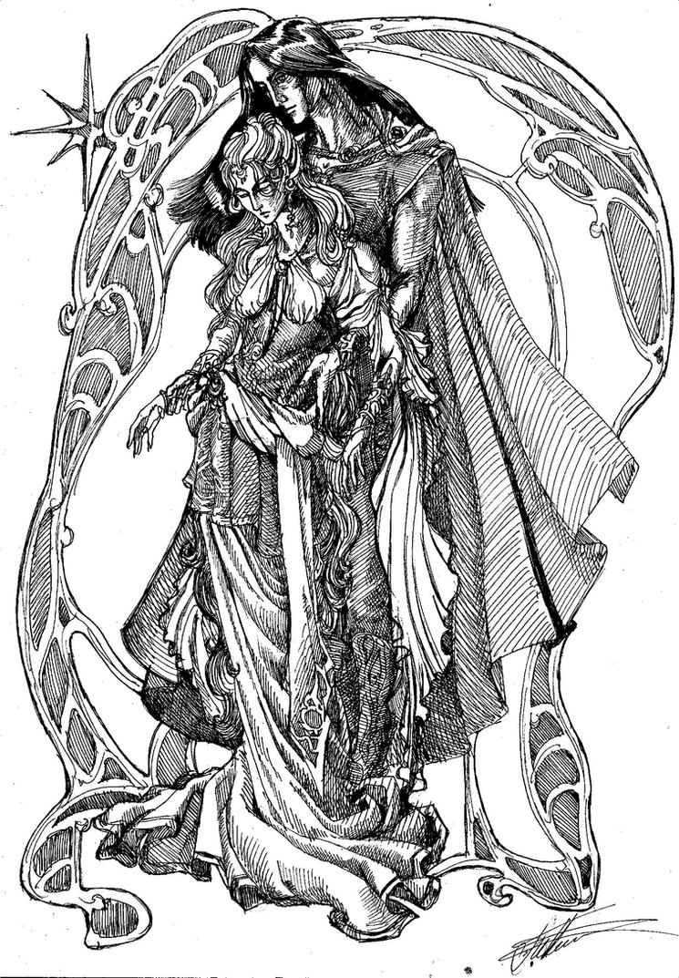 Nerdanel and Feanor by Righon