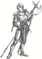 fighter female human by Righon