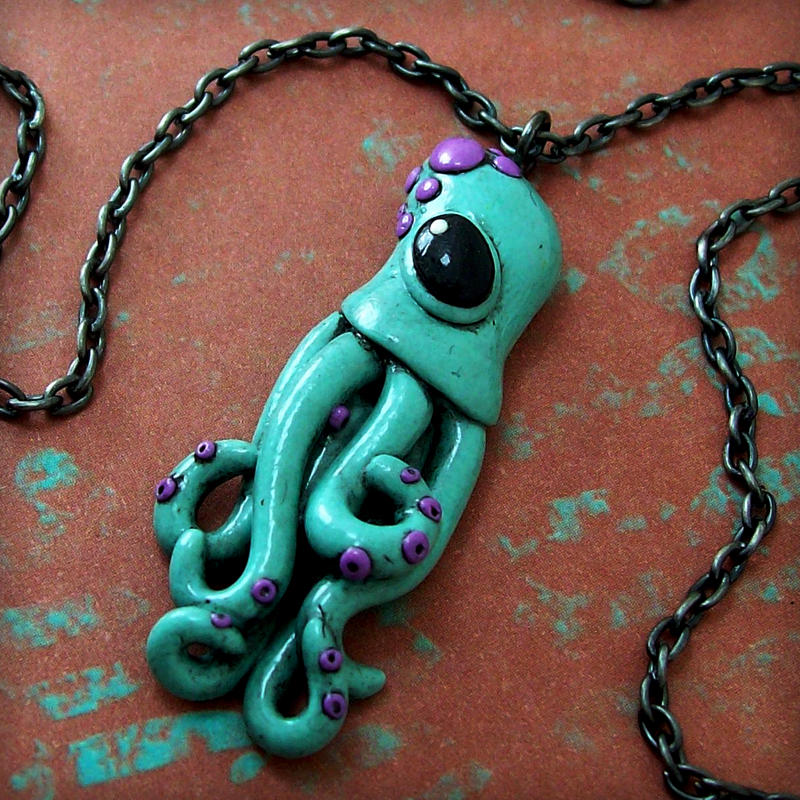 Teeny Squid Necklace by True-Crimeberry