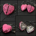 I Heart Brains Locket in pink by True-Crimeberry