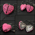 I Heart Brains Locket in pink