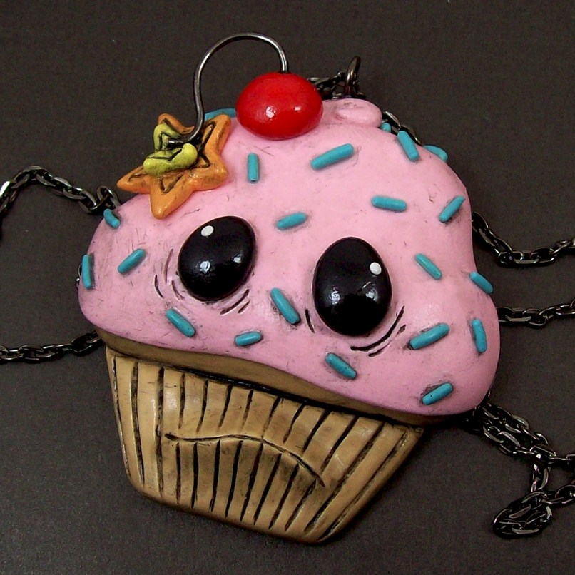 Cherry Bomb Cupcake Necklace by True-Crimeberry