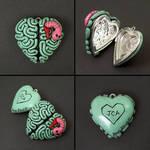 I heart brains locket wit worm by True-Crimeberry