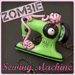 Green Zombie Sewing Machine Necklace