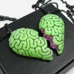 Brain BFF Necklace Set green and pink by True-Crimeberry