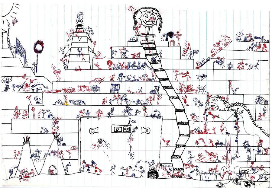 Stickman war drawings