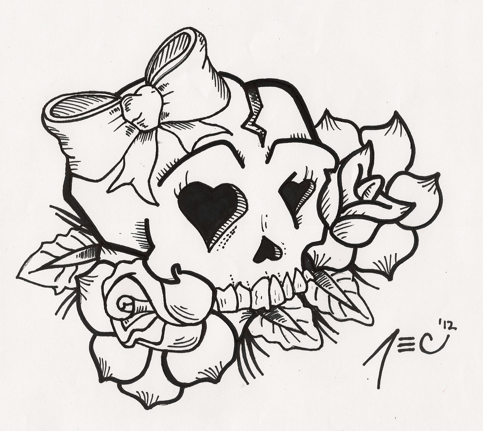 Girly skull tattoo by theadrock on deviantart for Cute girly coloring pages