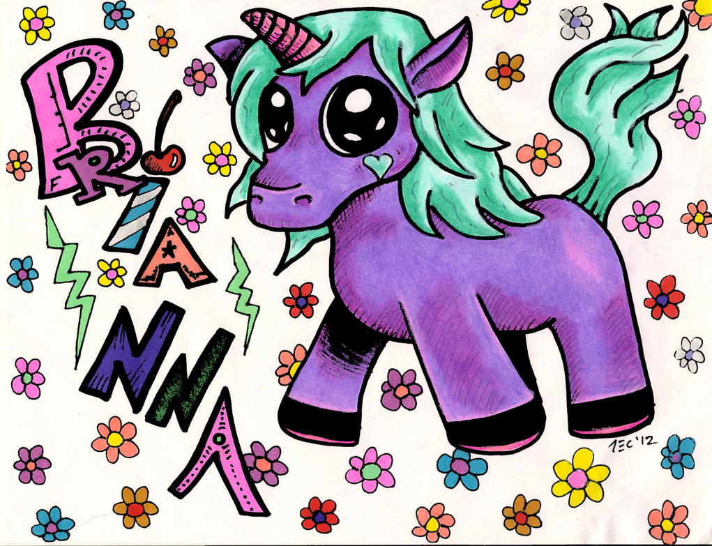 Brianna Graffiti Letters With A Unicorn By TheADROCK