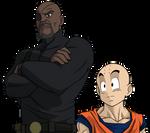 Nick Fury and Krillin ( dragon ball / Marvel )