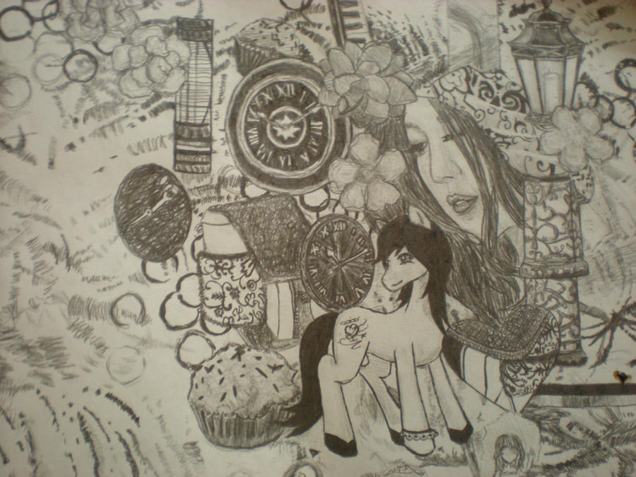 Drawing collage art
