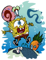 Spongebob and Gary by EeyorbStudios
