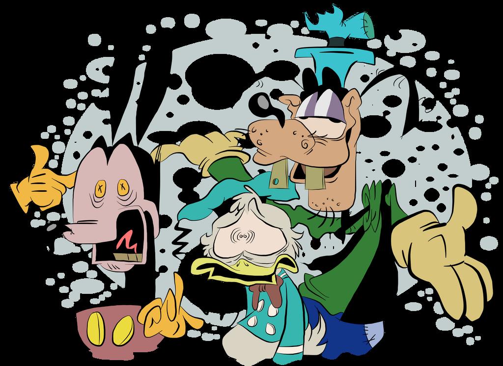 Goofy shows his pals my artwork by EeyorbStudios