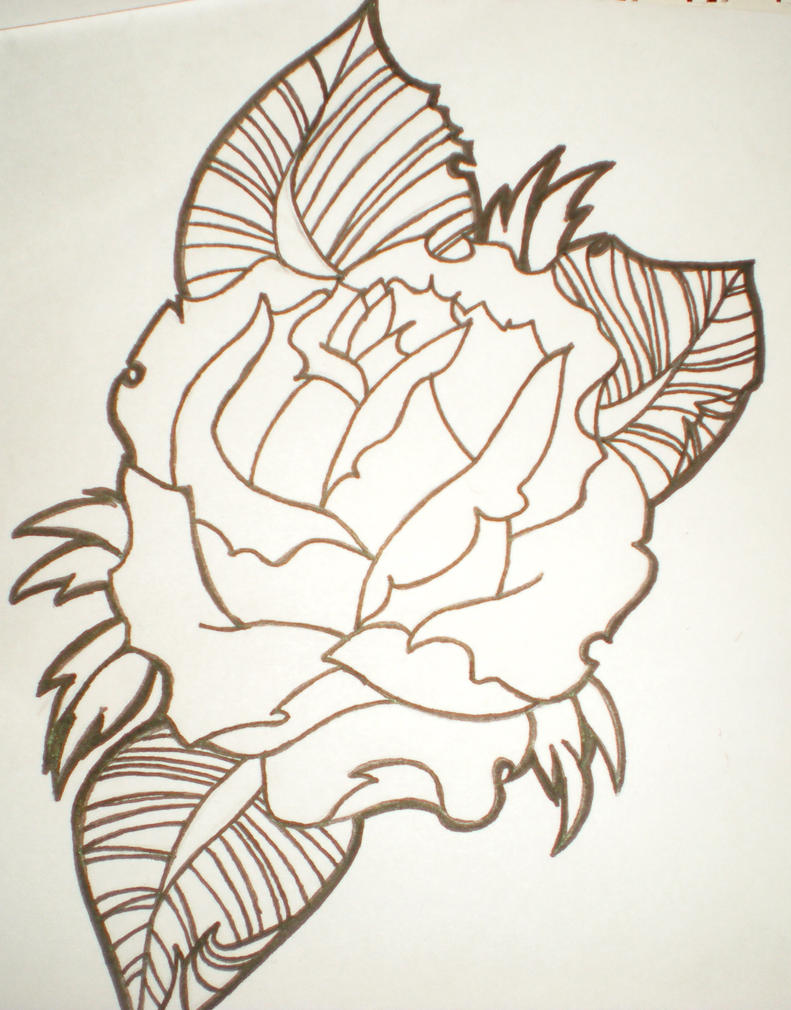 Line Drawing Rose Tattoo : Traditional rose line drawing by teeneydngr on deviantart