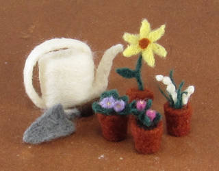 Needle-Felted Garden Set by GlassCamel