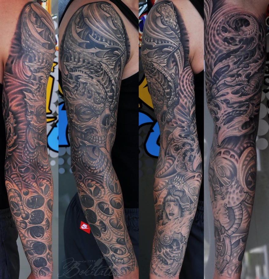 biomechanical full sleeve tattoo by bokitattoo on deviantart. Black Bedroom Furniture Sets. Home Design Ideas