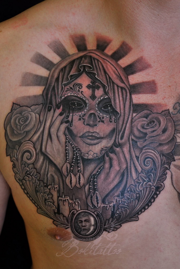 santa muerte tattoo by bokitattoo on deviantart. Black Bedroom Furniture Sets. Home Design Ideas