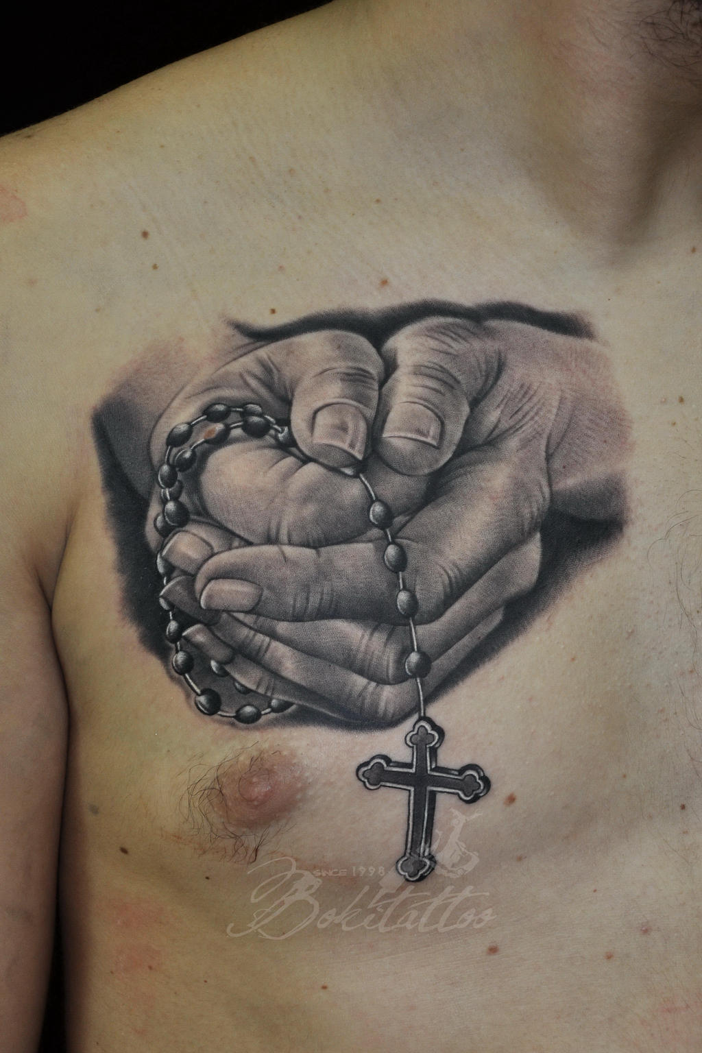 Traditional Praying Hands Tattoo Black And Gray: Praying Hands Tattoo By Bokitattoo On DeviantArt