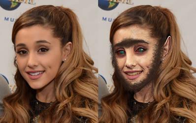 Ariana Grande Werewolf TF Split by Foolish-Water