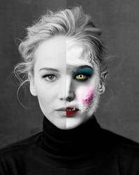 Werewolf Jennifer Lawrence Split by Foolish-Water
