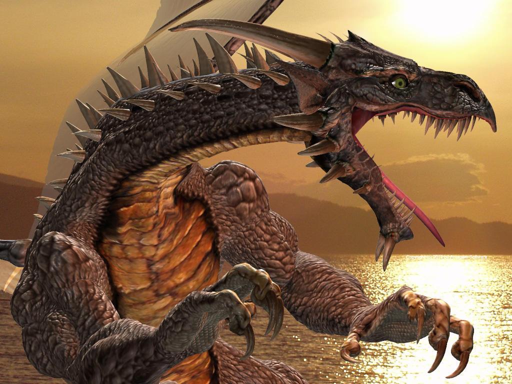 Chokko the dragon at sunset