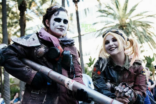 Post Apocalyptic Harley Quinn and thug.