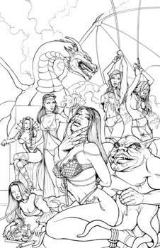 Monsters and Maidens Art Book Cover - Inks