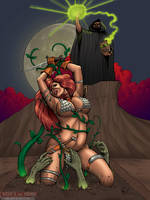 COMMISSION - Red Sonja Vs Necronomicon by DocRedfield