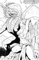 Dragon and Dame -Jason Worthington Inks by DocRedfield