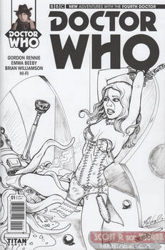 Doctor WHO Sketch Cover - Leela and Dalek