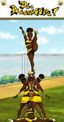 Chocolate Honey Bee Cheerleaders by DjDontTouchTheTrim