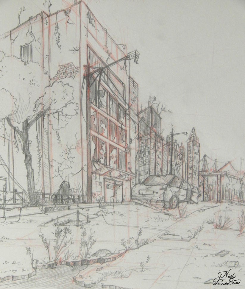 Post apocalyptic  scenery sketch by yuukitaachi