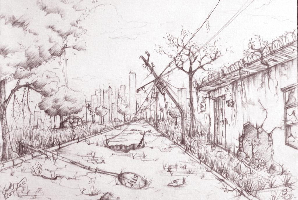 Scenery - Post apocalyptic street by yuukitaachi on deviantART