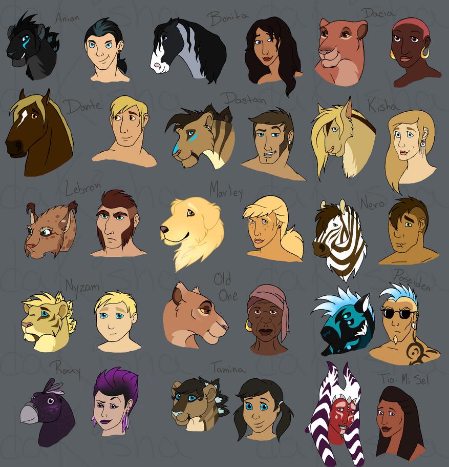 My Characters Humanized * - Part 1 by daKisha