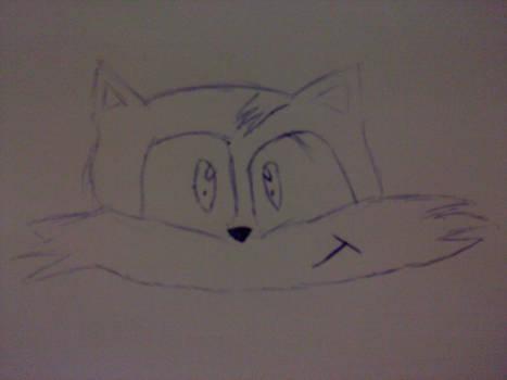 Tails head line art
