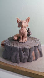 Fox on a stump WIP by Lazerchief