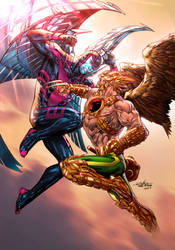 Archangel vs Hawkman by TeoGonzalezColors