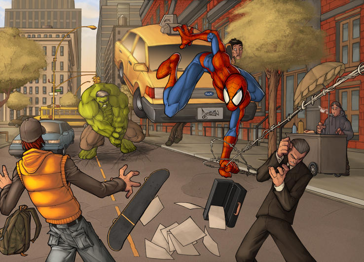spiderman vs hulk by TeoGonzalezColors