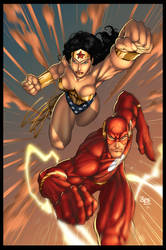 wonder woman and flash by TeoGonzalezColors