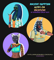 NEW PRINTS! Ancient Egyptian Gods On Vacation