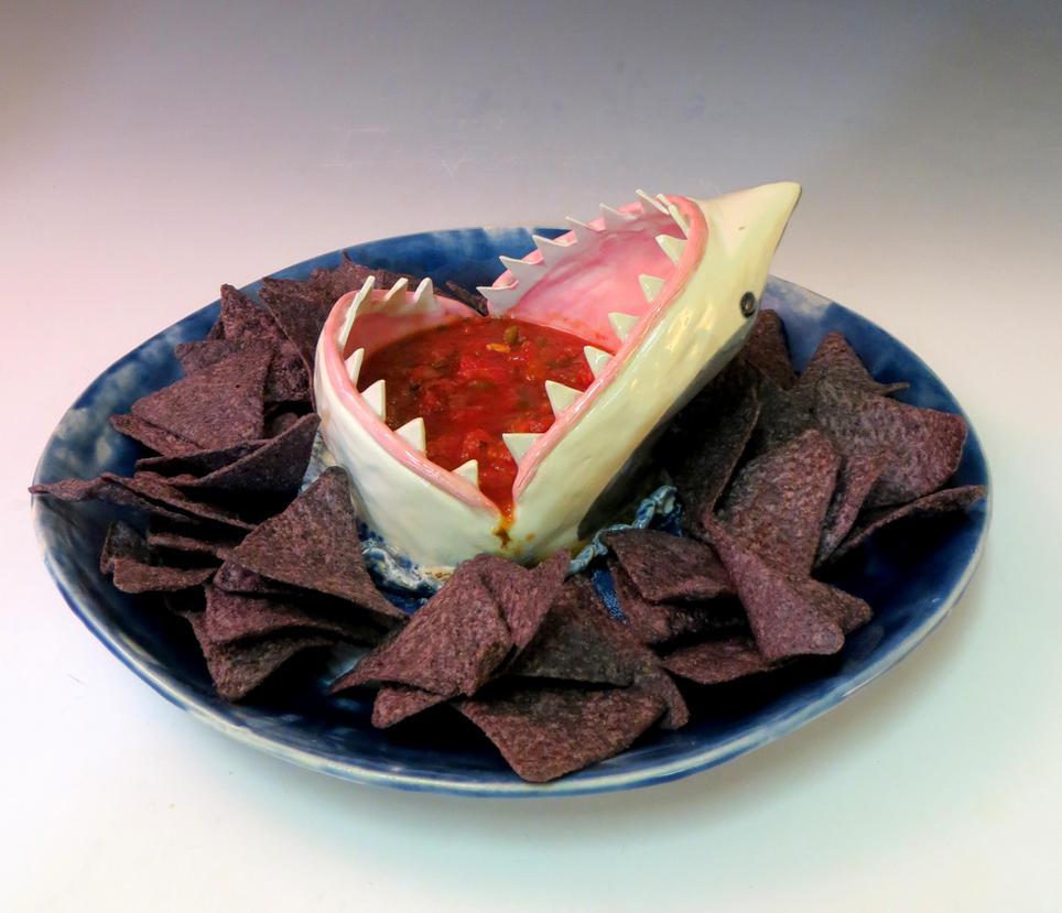 Chips and Salsa Shark Plate by aviceramics