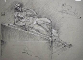 L'aurora (Dawn) - charcoal study by hanestetico